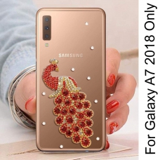 Rhinestone Bling Diamond Gold Peacock Soft Silicone Transparent Bumper Back Cover for Samsung Galaxy A7 2018 (Red)